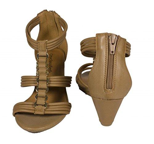 Città Classificata Donne Propel Open Toe Strappy Sandalo Con Cinturino Basso A Zeppa In Maglia Doro Con Cinturino In Similpelle Sabbia