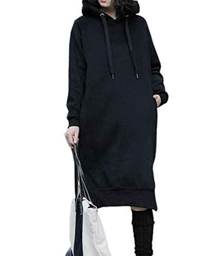 NUTEXROL Womens Thickening Long Fleece Sweatshirt String Hoodie Dress Pullover Plus Size, Large, Black by NUTEXROL