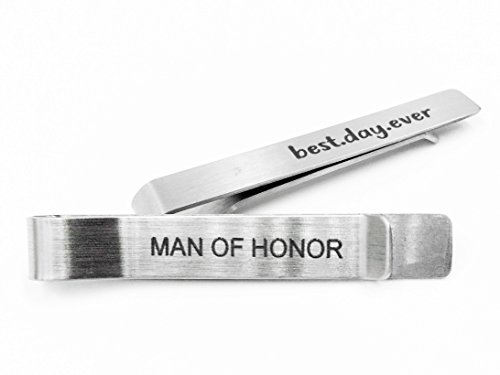 Anna Stainless Steel Tie Clip Set 2 - Man For Honor And Best Day Ever - Best Day Ever. Best Design Tie Clips For Husband, Father, Son, Boyfriend,... Gentleman Gift . Chrismas Gift, Quote Tie Clips