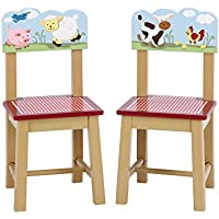 Guidecraft Wood Hand-painted Farm Friends Extra Chairs (Set of 2) G86703
