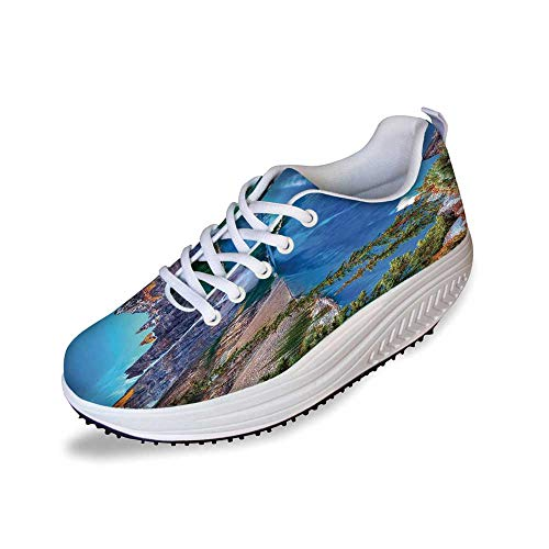 Lake House Decor Stylish Shake Shoes,Moraine Lake Sunrise in Banff National Park Clear Sky Reflection Colorful Picture for Women,9