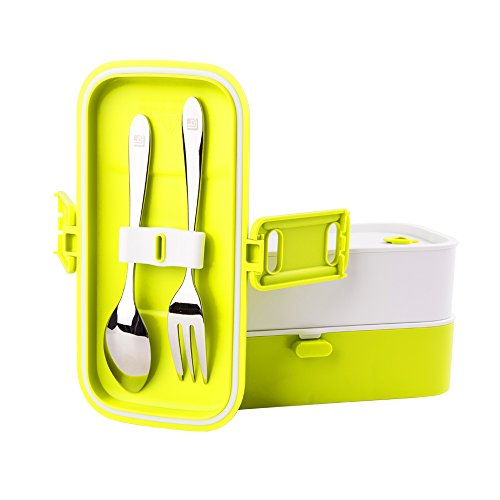 Portable Salad (Bento Lunch Box for Kids Adults,Leak-Proof FDA-Approved Microwave Dishwasher Freezer Safe with Lids All-in-One 2 Layers Meal Prep Food Storage Containers (Green))