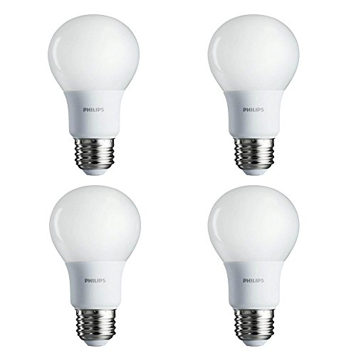 Philips New 60-Watt Equivalent A19 LED Light Bulb Soft White - 2700K - (Pack of 4).