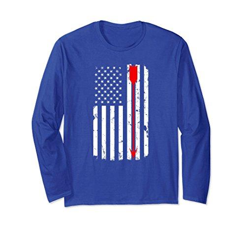 Unisex Archery Arrow Distressed American Flag Long Sleeve Shirt 2XL Royal Blue