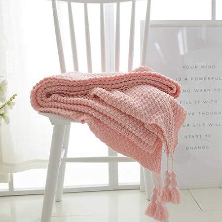 Carpet Home Algodón Nórdico Manta Tejida Oficina Manta de Siestas Manta de sofá Manta Manta Aire Acondicionado Manta Verano Toalla Individual (Color : Beige, Size : 130 * 170CM)