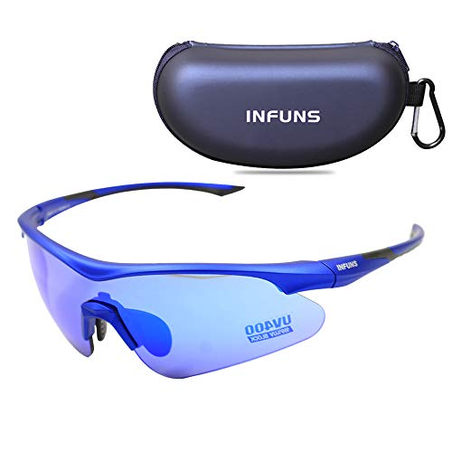Infuns Anti Fog Safety Glasses,Anti Scratch Z87+ Sports Eye Protection for Cycling Running Driving (Blue)
