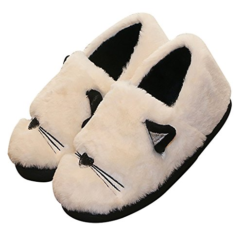 40eefb93a4b4 delicate ONCAI Women s Coral velvet House Slippers Cute Embroidery Cat Non- Slip