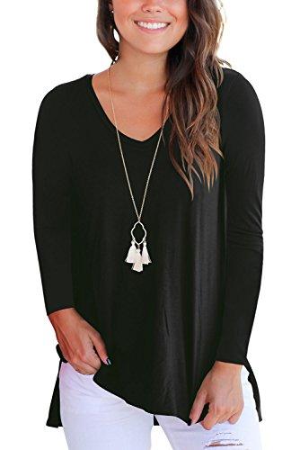 V black Sleeve T Donna Magliette Dasbayla Scollo A Corta Tee Long Shirt con Manica Basic wv4qO6x