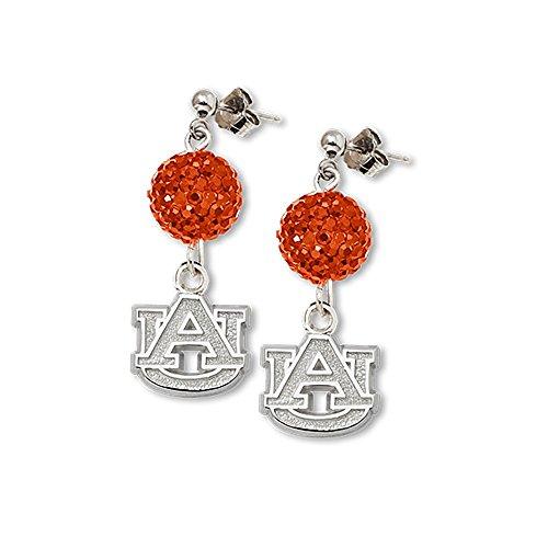 Solid 925 Sterling Silver Auburn University Crystal Ovation Earrings (0.4mm)