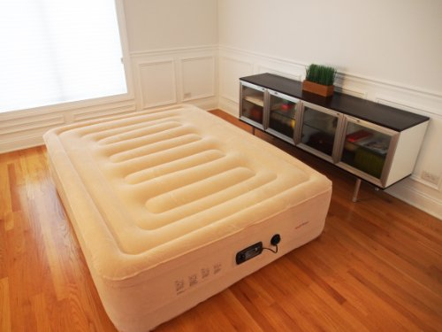 SimplySleeper FL-89Q Raised Inflatable Mattress w/ Flocked Top & Side Material - NEW! Built-in Auto-Stop Electric Pump and Sure Grip Bottom (Includes Travel bag and Repair Kit) by SimplySleeper
