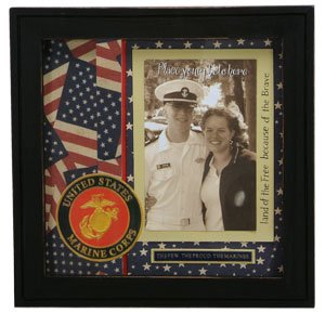 patriotic marines military scrapbook picture frame shadowbox united states marine corps - Military Frames