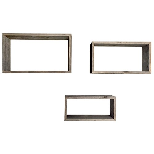 Raphael Rozen Rustic Open Rectangle Shelves, Set of 3 small: 14 x 6, medium: 16 x 8, and large: 18 x 10 inches with each being 5 inches deep Shelves - 100% Reclaimed Wood …