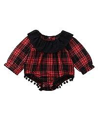Naladoo Infant Baby Girls Ruffled Plaid Fringe Crawler Tassel Jumpsuit Romper