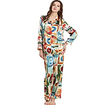 ad44f26c50 Image Unavailable. Image not available for. Color  Sleepwear Forever Angel  Women s Pure Silk Pajamas Luxury PJs Gift Pattern ...