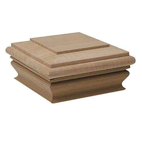 Woodway Flat Top 4x4 Post Cap - Premium Mahogany Wood Fence Post Cap, Newel Post Top 4 x 4, Fits Up To 3.5 x 3.5 Inch Post, 1PC