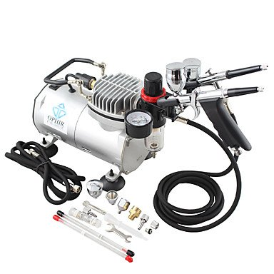 WST 110V,220V 2-Airbrush & Compressor Kit Double Action Spray Air Brush Set Tattoo Nail Art , 110v
