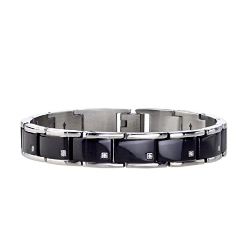 AX Jewelry Mens Diamond Bracelet in Black Stainless Steel (0.10 carats, H-I I3)