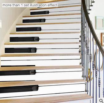 BIGBOBA Autocollant descalier 6PCS Autocollant descalier imperm/éable Auto-adh/ésif Autocollant Mural descalier 3D PVC de d/écoration descalier Autocollant cl/é de Piano Bricolage