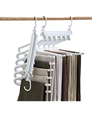JOYBOS 2 Pack Pants Hangers Space Saving Non-Slip Clothes Hangers Slack Closet Organizer Folding Storage 6 in 1 Layered Pants Rack for Scarf Jeans Trousers