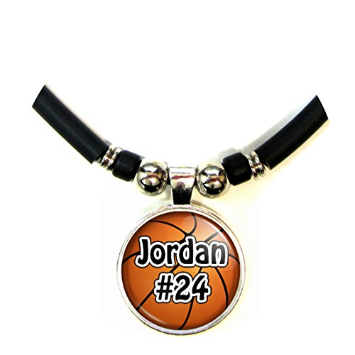 Basketball Personalized Necklace with Your Name and Number, PERSONALIZE BY EMAIL (Ladies Personalized Basketball)
