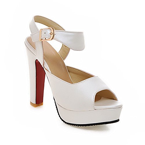 Heels High Soft White Sandals Material Solid Buckle Women's WeenFashion Toe Open qA5zwZEn