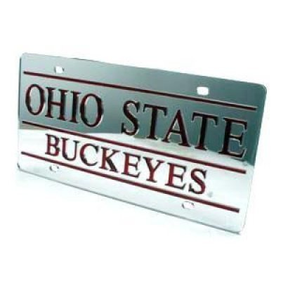 Ohio State Buckeyes Inlaid Acrylic License Plate - Silver Mirror Background