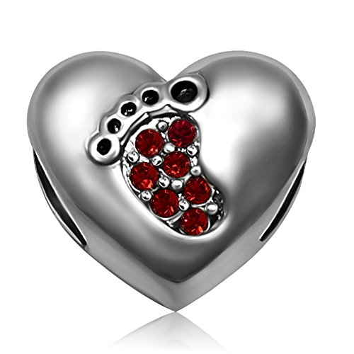 January Birthstone Heart Charm (JMQJewelry Love Beads Baby Heart Footprints Birthstone January Red Crystal Charms For European Bracelets)