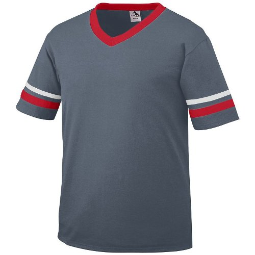 (Augusta Sportswear Adult Large Graphite Shirt, Red/White Striped Sleeves 50/50 Poly/Cotton)