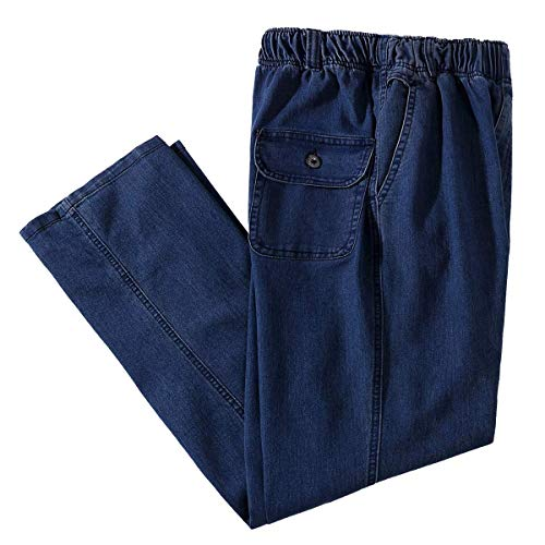 IDEALSANXUN Men's Elastic Waist Loose Fit Denim Pants Casual Solid Jeans Trouser (46, Dark Blue)