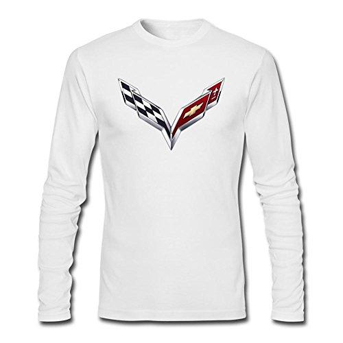 OMMIIY Men's General Motors Corvette Logo Long Sleeve T-Shirt White XXXL
