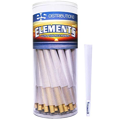 Elements Cones King Size | 50 Pack | Natural Pre Rolled Rice Rolling Paper with Tips and Packing Sticks Included