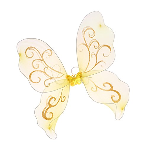 - MagiDeal Girls Butterfly, Fairy, Butterfly Wings For Kids Parties,Birthday Favors - Yellow, 44cm × 43.5cm × 0.2cm