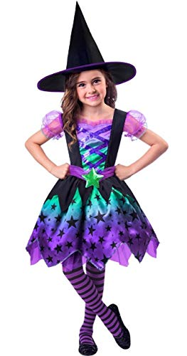 Girls Toddlers Cute Ombre Witch Halloween World Book Day Week TV Book Film Carnival Fancy Dress Costume Outfit With Hat 2-8 Years (3-4 Years)]()