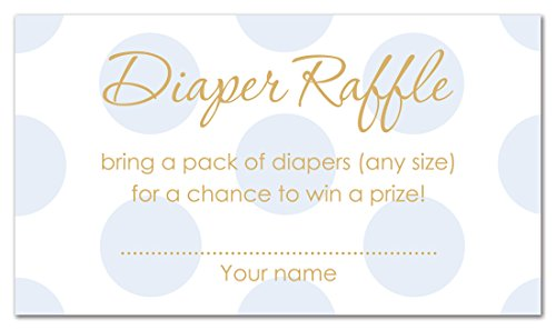48 Polka Dots Gold Baby Shower Raffle Cards (Blue)