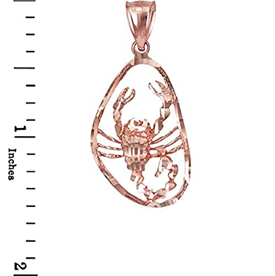 10K Rose Gold Scorpio Zodiac Sign DC Necklace