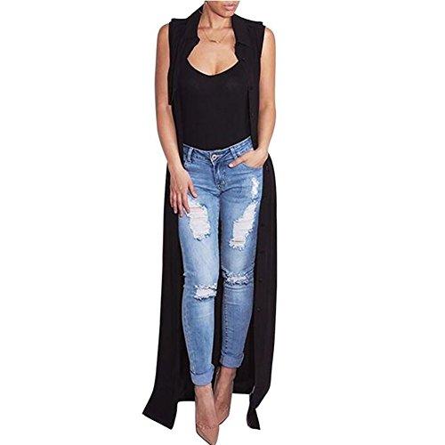 Manteau Col Printemps Trench de et Automne Cardigan Veste Coat Newbestyle 1 Revers Mousseline Femme Long Noir pFWqTg