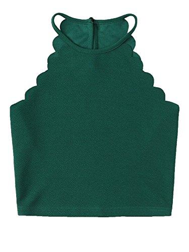 MAKEMECHIC Women's Solid Halter Neck Cami Scallop Trim Workout Crop Top Green M