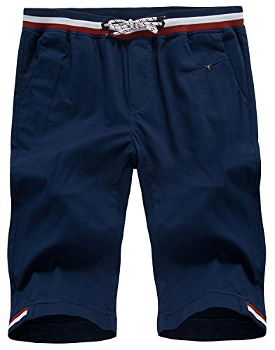 Guoji Men's Flat Front Shorts Slim Fit Chino Short Pants for Men