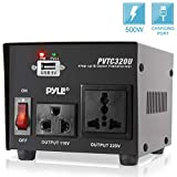 Step Up and Down Converter - 500 Watt Voltage Converter Transformer w/ USB Charging Port, UK Power Adapter, AC 110 / 120 to 220 / 240 Volt Vice Versa, 110V/120V/220V/240V Input Voltage - Pyle PVTC320U