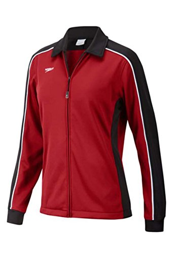 Speedo 7201482 Womens Streamline Warm Up Jacket, Black/Maroon, S