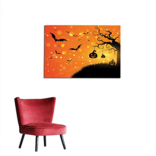 kungfu Decoration Photographic Wallpaper Halloween,Magical Fantastic Evil Night Icons Swirled Branches Haunted Forest Hill,Orange Yellow Black Art Poster W23.6 x L15.7 -