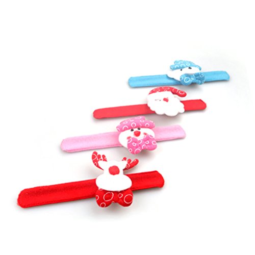 BESTOYARD Christmas Slap Bracelets LED Bracelet Santa Claus Snowman Deer Bear Bracelet Wristband Flashing Christmas Party Favors 4 Pieces