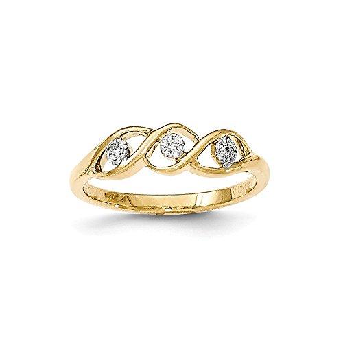 Size 4 - Solid 14k Gold Polished Diamond Wave Ring (0.067 Ct Diamond)