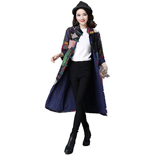 Frau Nationalen Windmantelkragen Plattenknöpfe Stehen Drucken Long Jacket Farbe Multi-Größe,Multicolor-xl
