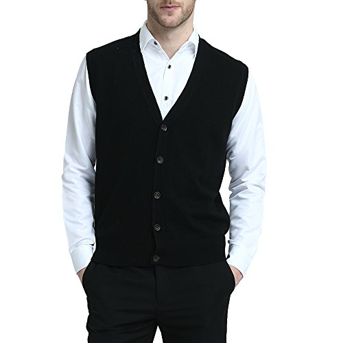 Kallspin Relaxed Fit Mens V-Neck Vest Sweater Cashmere Wool Blend Front Button (Black, L)