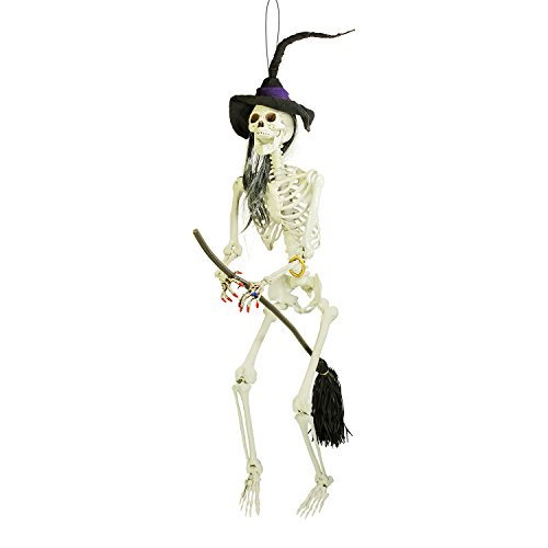 Halloween Haunters 6 Foot Hanging Scary Evil Skeleton Wicked Witch Flying on Her Broomstick Prop Decoration - Posable Joints, Realistic Human Bones Skull - Haunted House Graveyard Entryway -