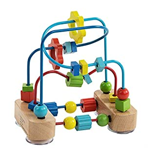 Bead Maze Toy for Toddlers, Colorful Wooden Abacus Sliding Beads Roller Coaster, Classic Educational Activity Game, Count, Color & Shape Recognition, Early Learning Toy for Ages 2 and Up