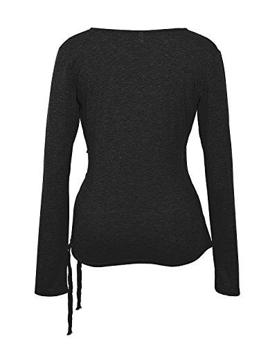 Gamiss Mujer Camiseta Con Manga Larga Cuello V Blusa Camisa Casual T Shirt Tops Algodón Negra S a XL Negra