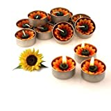 Sun Flower Candle in Tea Lights , Floating Candles, Scented Tea Lights ,Aromatherapy Relax ( Pack of 10 Pcs.)