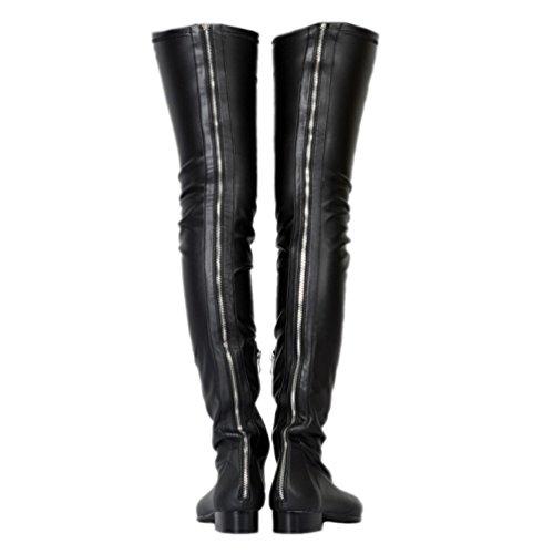 Kolnoo Damen BFCM Handgemachte Oberschenkel hohe Stiefel neue Mode Winter BFCM lange Stiefel Black